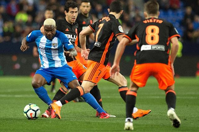Brown Ideye is hoping to help embattled Malaga avoid the drop from Spain's top flight (AFP Photo/JORGE GUERRERO)