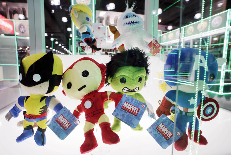 Plush dolls, based on Marvel Comic's characters and manufactured by Funko, are displayed at the American International Toy Fair, Monday, Feb. 11, 2013 in New York. (AP Photo/Mark Lennihan)