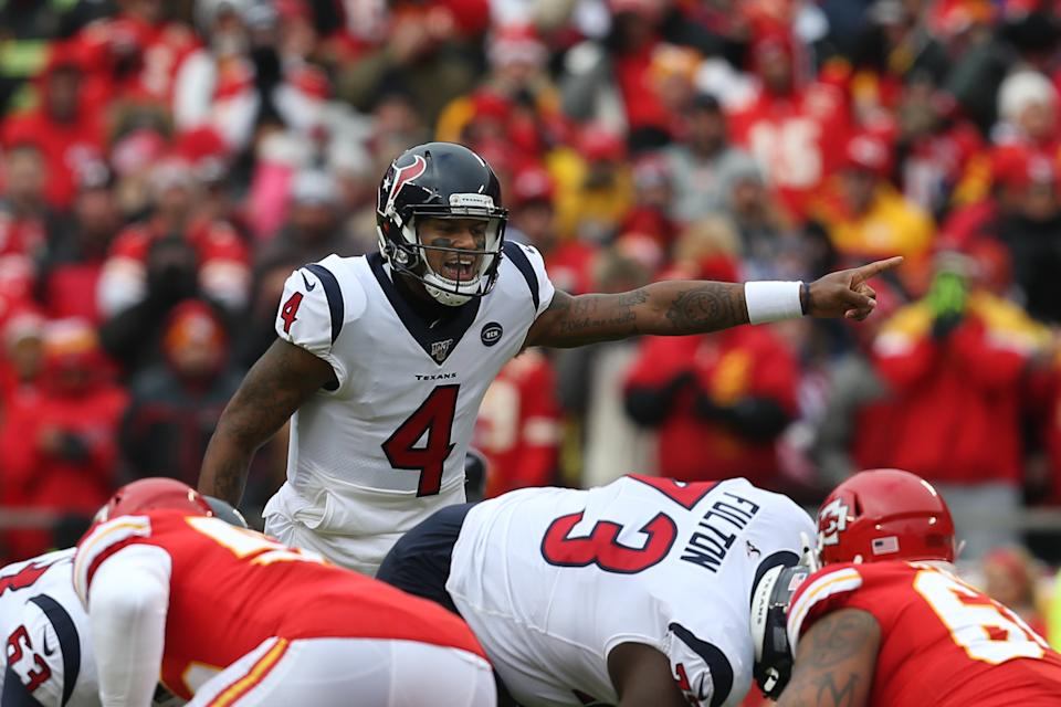 KANSAS CITY, MO - JANUARY 12: Houston Texans quarterback Deshaun Watson (4) points out the coverage in the first quarter of an NFL Divisional round playoff game between the Houston Texans and Kansas City Chiefs on January 12, 2020 at Arrowhead Stadium in Kansas City, MO. (Photo by Scott Winters/Icon Sportswire via Getty Images)
