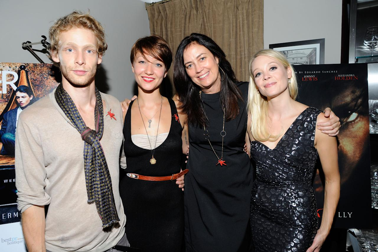"TORONTO, ON - SEPTEMBER 14:  (L-R) Actors Johnny Lewis, Gretchen Lodge, producer Jane Fleming and Alexandra Holden attend ""Lovely Molly"" Pre-Screening Cocktail Reception at TIFF Bell Lightbox on September 14, 2011 in Toronto, Canada.  (Photo by Clinton Gilders/Getty Images)"