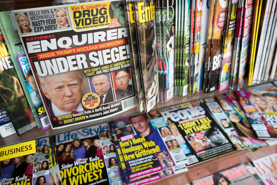 <em>American Media Inc, which owns The National Enquirer, reached a settlement with Ms McDougal (AP)</em>