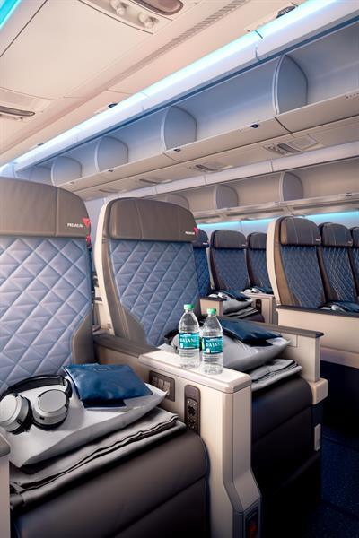 Premium economy seats on a Delta Air Lines plane