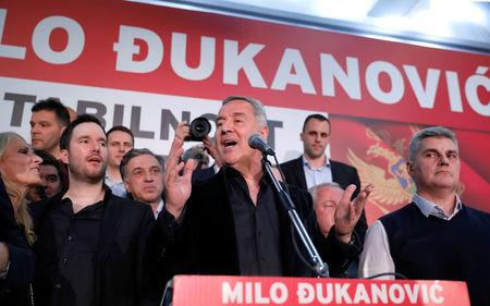 Milo Djukanovic, the presidential candidate of the ruling DPS party (Democratic Party of Socialists), speaks during the meeting with his supporters in the DPS' headquarters in Podgorica, Montenegro, April 15, 2018. REUTERS/Marko Djurica