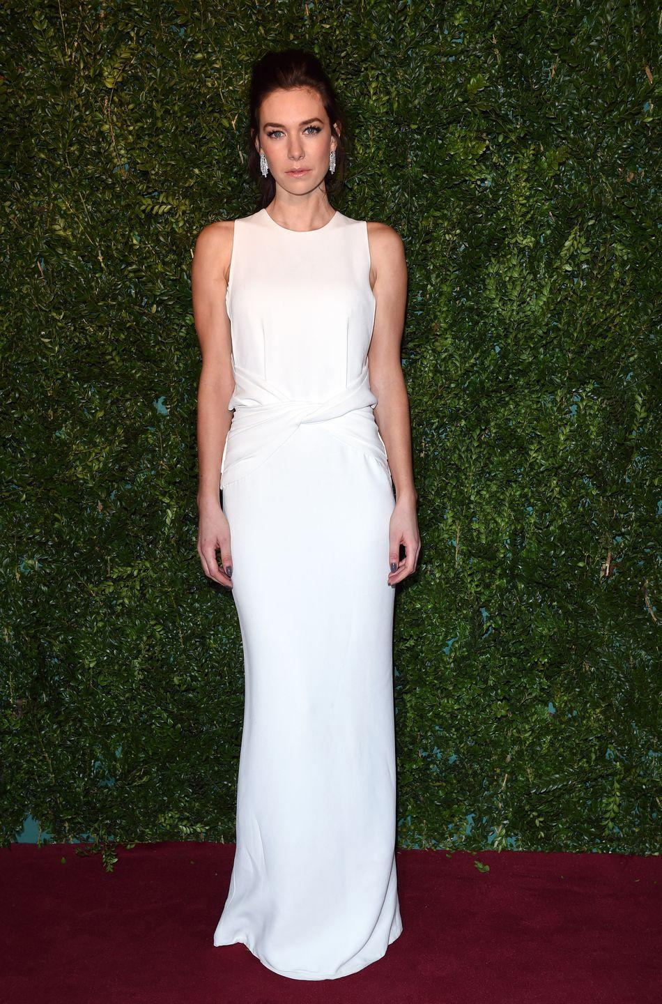 <p>While attending the 60th London Evening Standard Theatre Awards, Kirby wears a dress by Burberry Prorsum.</p>