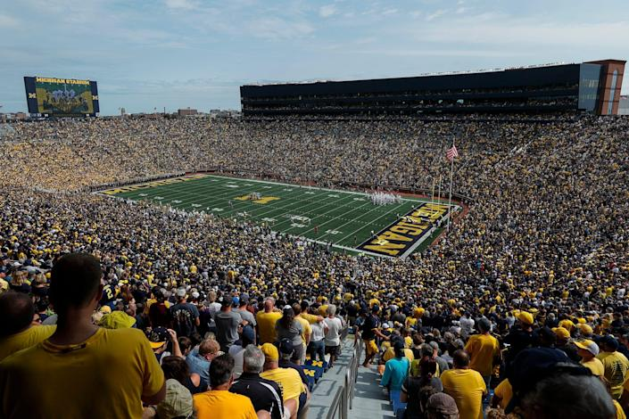 Fans cheer on before kickoff of a game between Michigan and Western Michigan at Michigan Stadium in Ann Arbor on Saturday, Sept. 4, 2021.