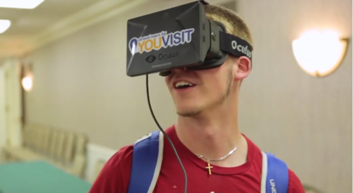 Student wearing a YouVisit headset