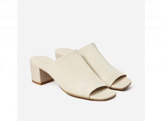 This pair of mules are made from five recycled plastic bottles (Everlane)