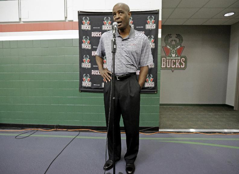 Milwaukee Bucks head coach Larry Drew answers questions during the team's NBA basketball media day Monday, Sept. 30, 2013, in St. Francis, Wis. (AP Photo/Morry Gash)