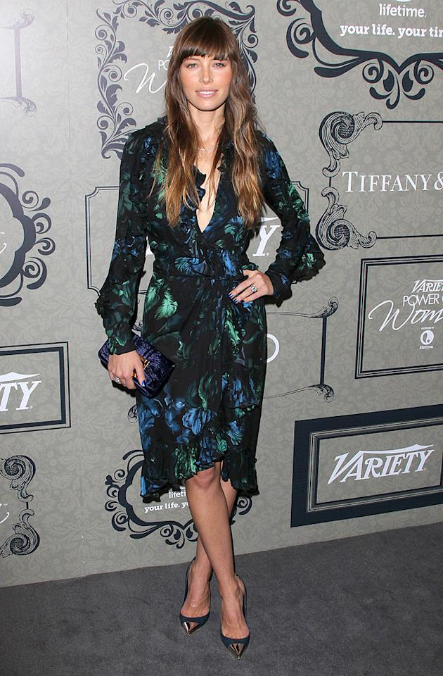 "Following in Halle's footsteps was Mrs. Timberlake-to-be (aka Jessica Biel), who looked glam in Gucci. Partnering with the ruffled wrap dress were a Tiffany & Co. necklace, Fendi clutch, and fierce Louis Vuitton heels with capped, metallic toes. To die for! (10/5/2012)<br><br><a target=""_blank"" href=""http://omg.yahoo.com/news/jessica-biel-perfect-justin-timberlake-because-she-hang-000000147.html"">Why Biel is perfect for Timberlake</a>"