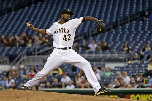 Pittsburgh Pirates starting pitcher James McDonald delivers in the second inning of a baseball game against the St. Louis Cardinals in Pittsburgh, Monday, April 15, 2013. (AP Photo/Gene J. Puskar)