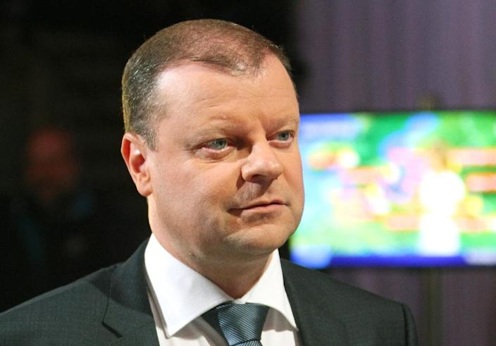 """""""We will forge a rational coalition government and we'll chose people who want to bring about changes,"""" Saulius Skvernelis, a popular former national police chief who ran as the LPGU's candidate for prime minister said on national TV (AFP Photo/Petras Malukas)"""