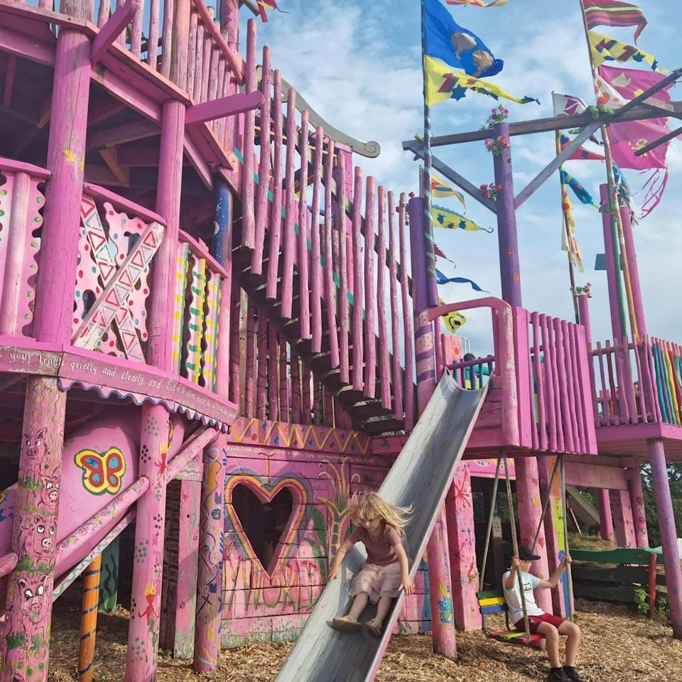 The swings, slides and steps of the Pink Castle will keep children entertained for hours