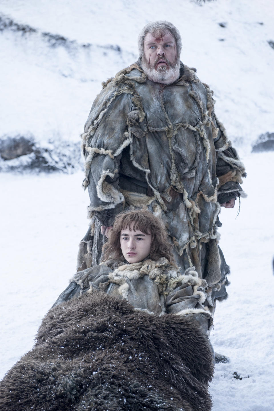 """Hodor (Kristian Nairn) and Bran Stark (Isaac Hempstead Wright) in """"Game of Thrones"""". (PHOTO: HBO)"""