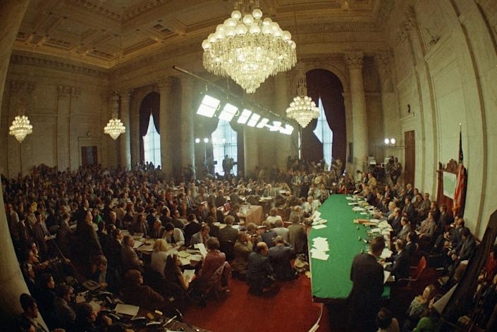 <p>Hearings of the Senate select committee on the watergate case in Washington, D.C. May 18,1973. (Photo: AP) </p>