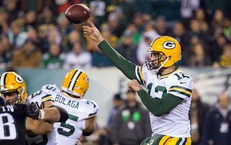 Nov 28, 2016; Philadelphia, PA, USA; Green Bay Packers quarterback Aaron Rodgers (12) passes against the Philadelphia Eagles during the first quarter at Lincoln Financial Field. Mandatory Credit: Bill Streicher-USA TODAY Sports