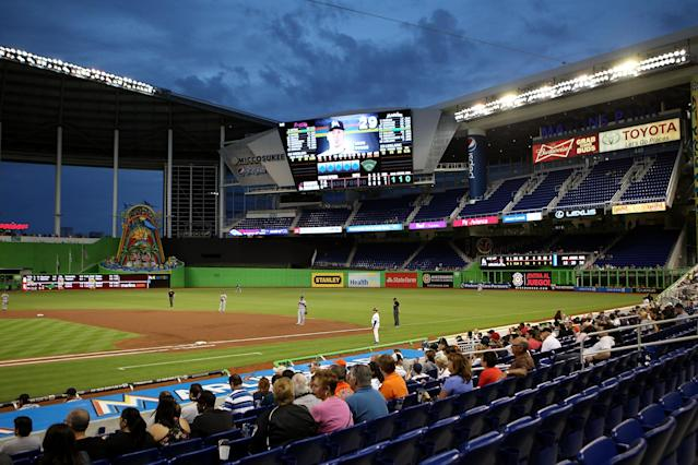 MIAMI, FL - APRIL 09: Empty seats are seen as the Atlanta Braves play against the Miami Marlins at Marlins Park on April 9, 2013 in Miami, Florida. (Photo by Marc Serota/Getty Images)