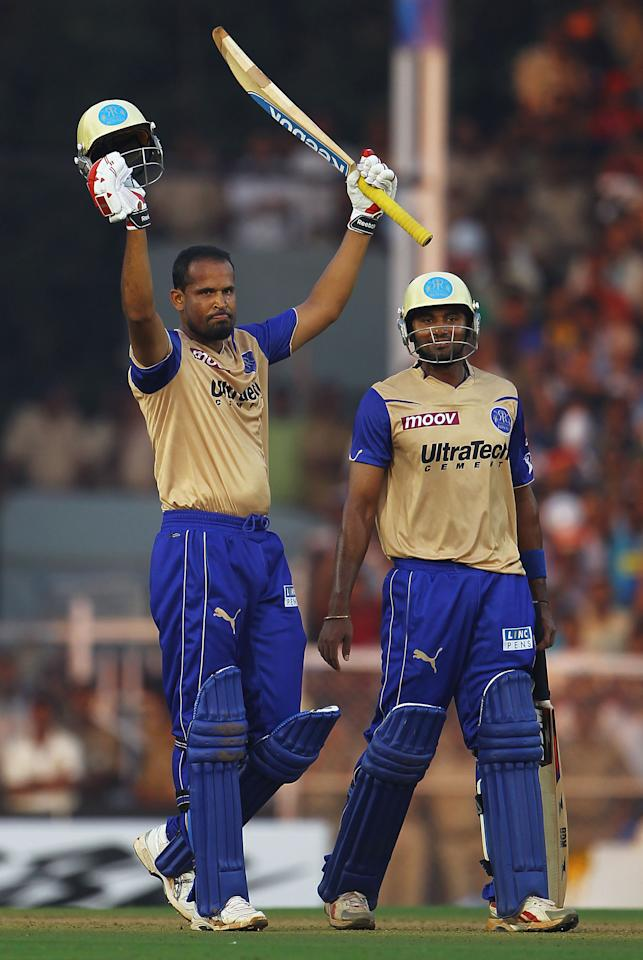 MUMBAI, INDIA - MARCH 13:  Yusuf Pathan of the Rajasthan Royals celebrates his century during the 2010 DLF Indian Premier League T20 group stage match between the Mumbai Indians and Rajasthan Royals played at the Brabourne Stadium on March 13, 2010 in Mumbai, India.  (Photo by Matthew Lewis-IPL 2010/IPL via Getty Images)