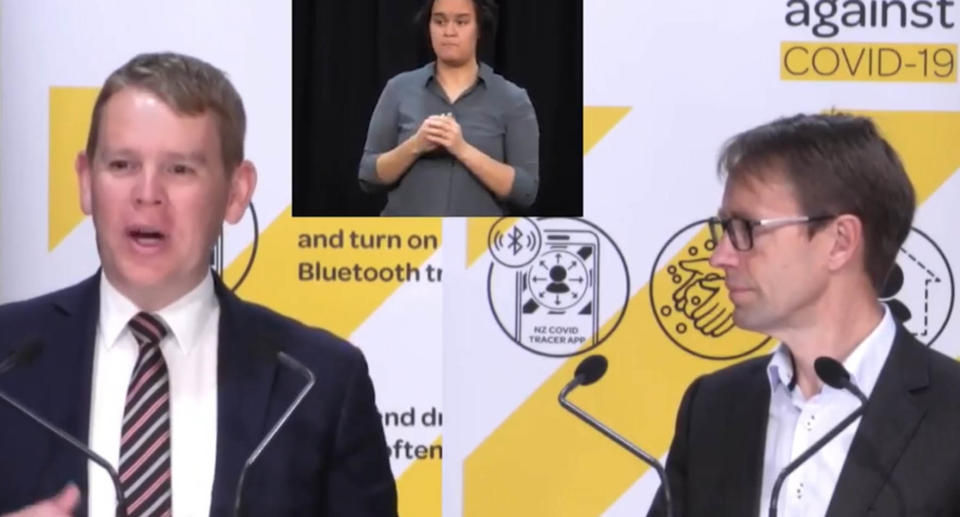 A screenshot of New Zealand's Covid-19 response minister Hipkins as made a rather unintentional X-rated error at a live press conference, telling Kiwis about how they should social distance when they