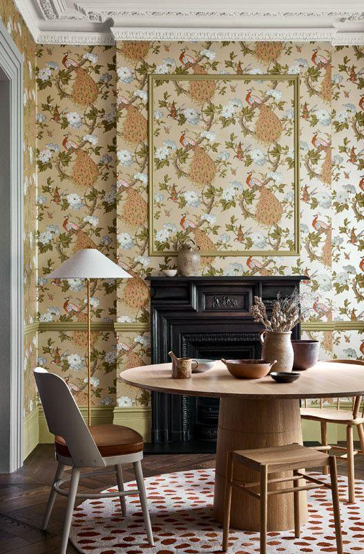"""<p>A clever device from Little Greene, here framing the beautiful Pavona Gina wallpaper as its own piece of art. </p><p>Pictured: <a href=""""https://www.littlegreene.com/catalog/product/view/id/41528/s/pavona-gina/category/43/"""" rel=""""nofollow noopener"""" target=""""_blank"""" data-ylk=""""slk:Pavona Gina"""" class=""""link rapid-noclick-resp"""">Pavona Gina</a>, Little Greene</p>"""