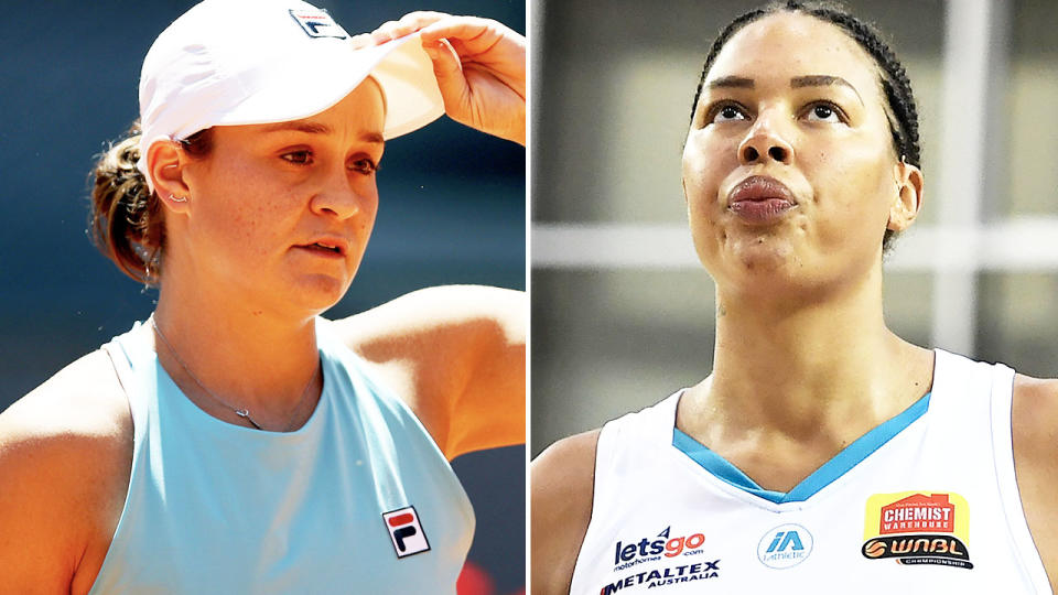 Ash Barty and Liz Cambage, pictured here on the tennis and basketball courts.