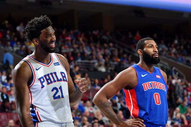 Joel Embiid had fun going at Andre Drummond on Saturday. (Photo by Jesse D. Garrabrant/NBAE via Getty Images)