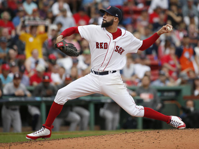 Boston Red Sox relief pitcher David Price delivers against the Houston Astros during the fourth inning in Game 3 of baseball's American League Division Series, Sunday, Oct. 8, 2017, in Boston. (AP)