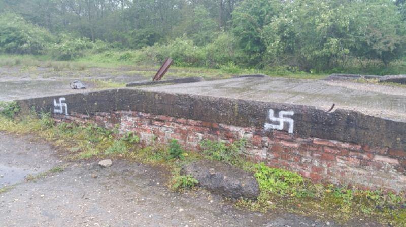 Swastikas were painted across the site (Picture: PA)