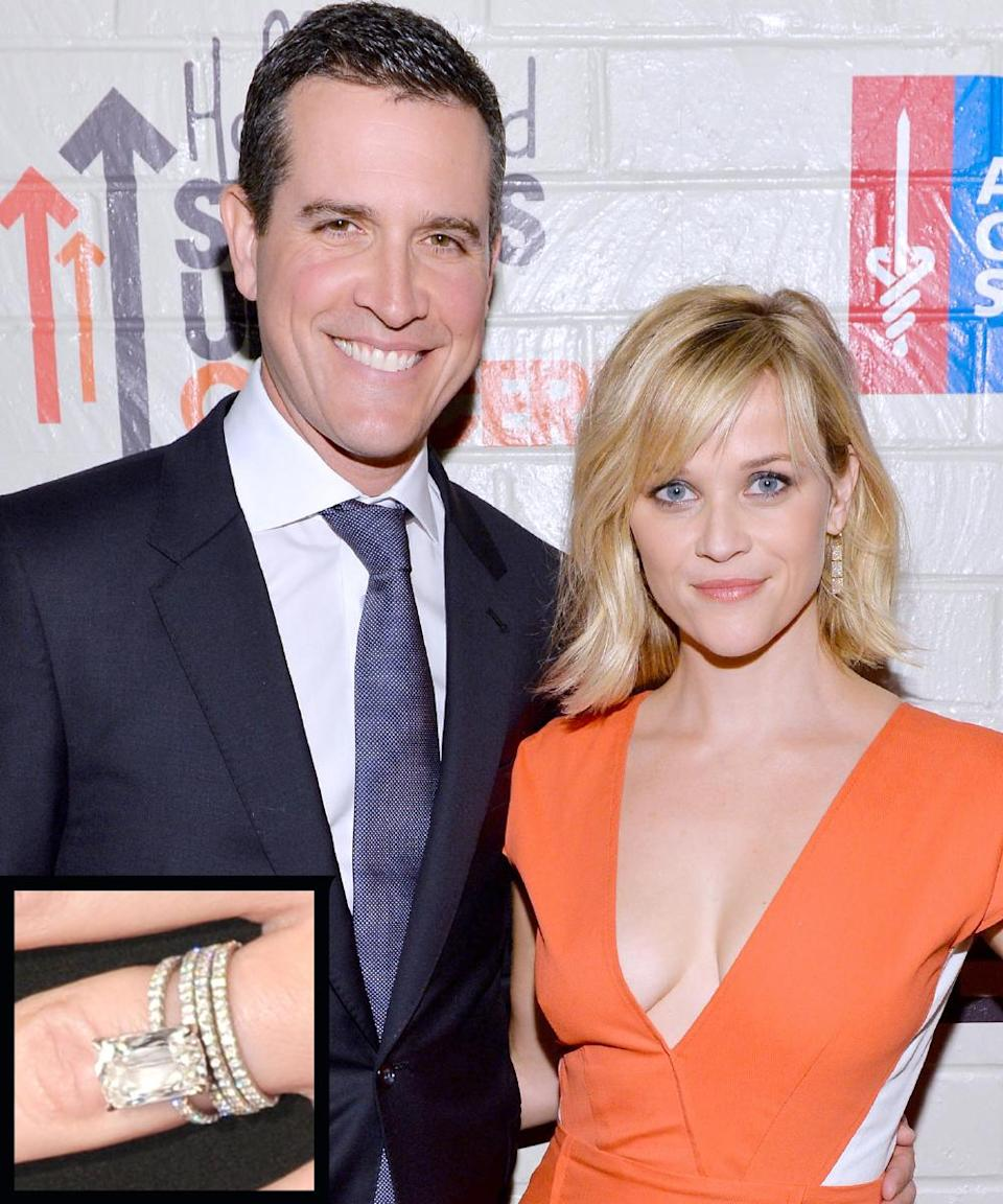 <p>Hollywood agent Jim Toth popped the question to Reese Witherspoon in 2010 with 4-carat Ashoka-cut diamond engagement ring. The couple married in 2011.</p>