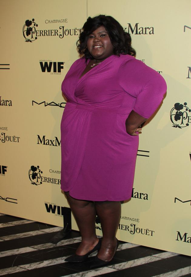 Oscars 2012 Pre Party: Gabourey Sidibe wore purple to the fifth annual Women in Film Pre-Oscar Cocktail Party in Los Angeles.