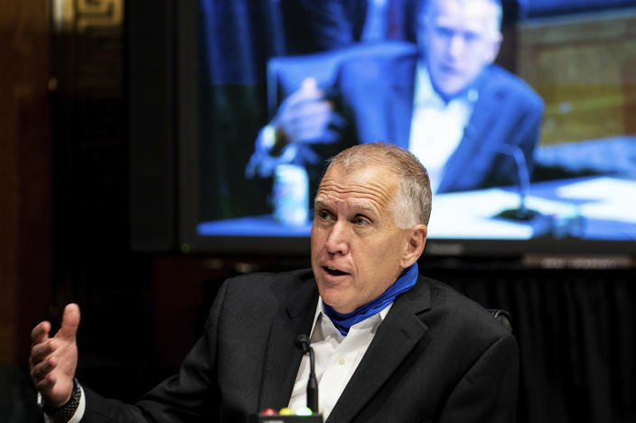 Sen. Thom Tillis, R-N.C., speaks during a Senate Judiciary Committee hearing on Capitol Hill in Washington in June. (Erin Schaff/The New York Times via AP, Pool)