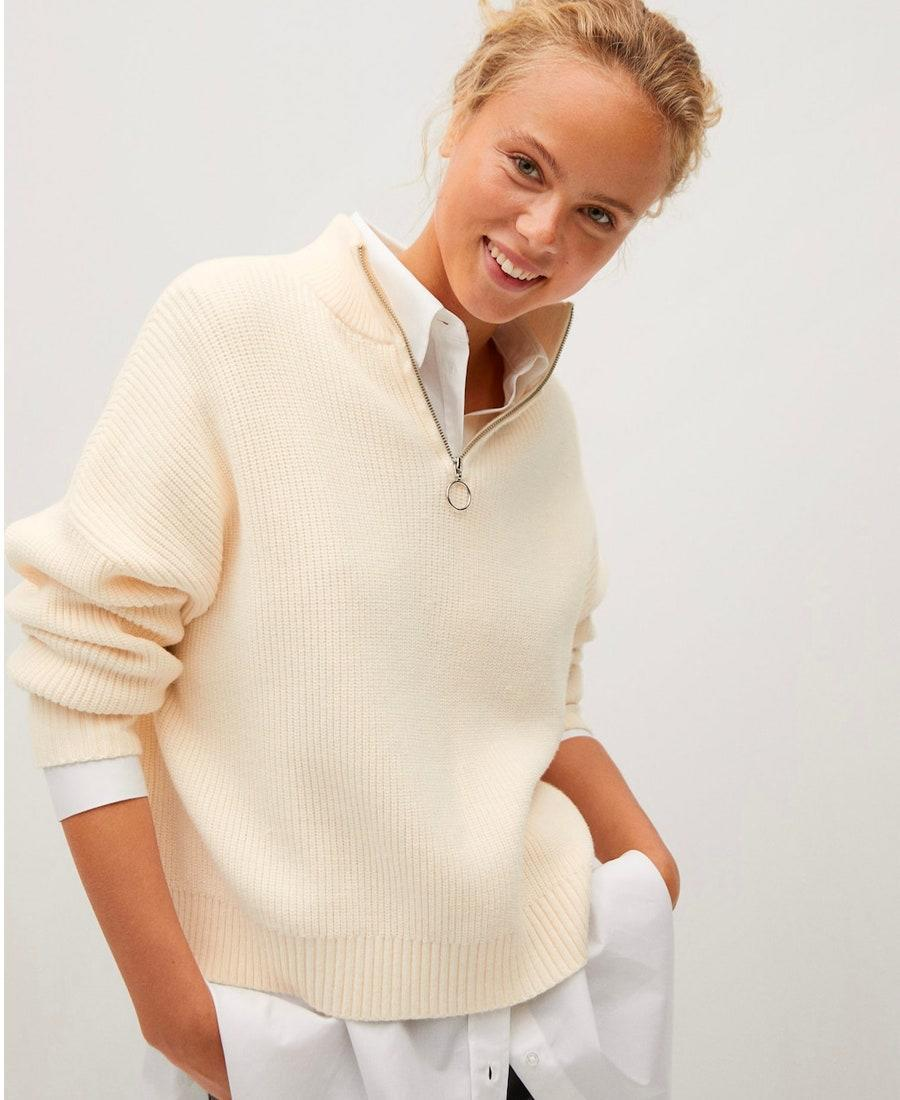 """It doesn't get any more Lady-Di-on-the-tennis-court than this. $60, Mango. <a href=""""https://shop.mango.com/us/women/cardigans-and-sweaters-sweaters/zip-neck-jumper_77024400.html"""" rel=""""nofollow noopener"""" target=""""_blank"""" data-ylk=""""slk:Get it now!"""" class=""""link rapid-noclick-resp"""">Get it now!</a>"""