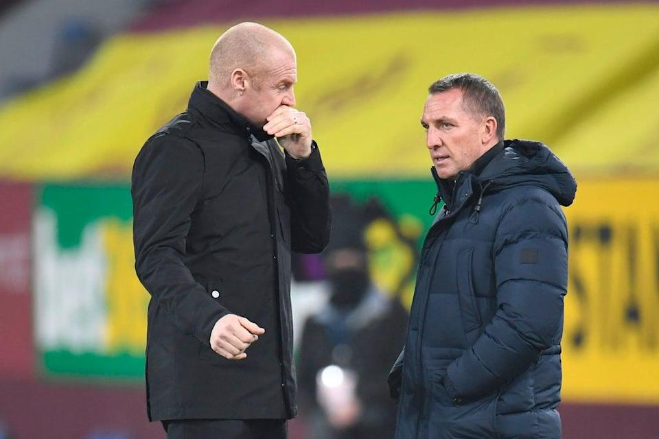 Sean Dyche (left) and his Burnley side take on Brendan Rodgers' Leicester City  (POOL/AFP via Getty Images)