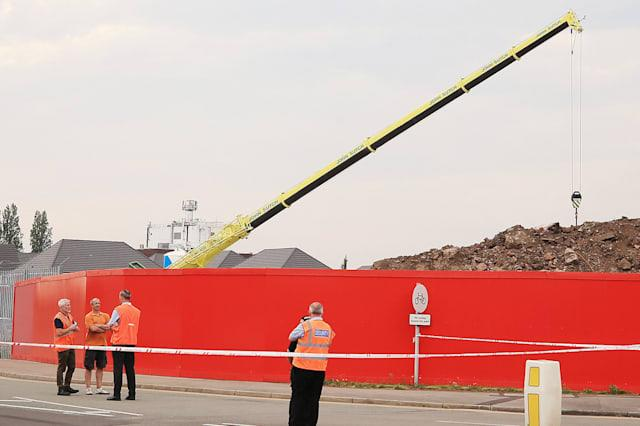 Collapsed crane in Crewe
