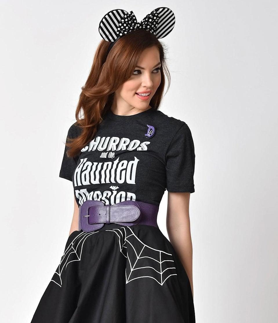 <p>Nothing could scare us away from this <span>Happiest Tees on Earth Dark Grey Churros and the Haunted Mansion Unisex Tee</span> ($32).</p>