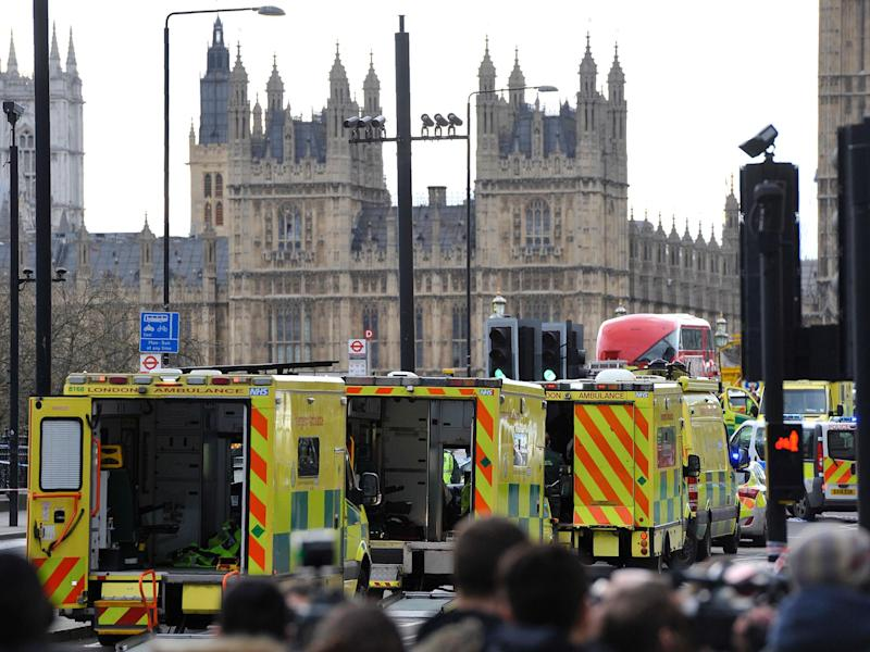 Emergency services near the Houses of Parliament on Wednesday: Getty