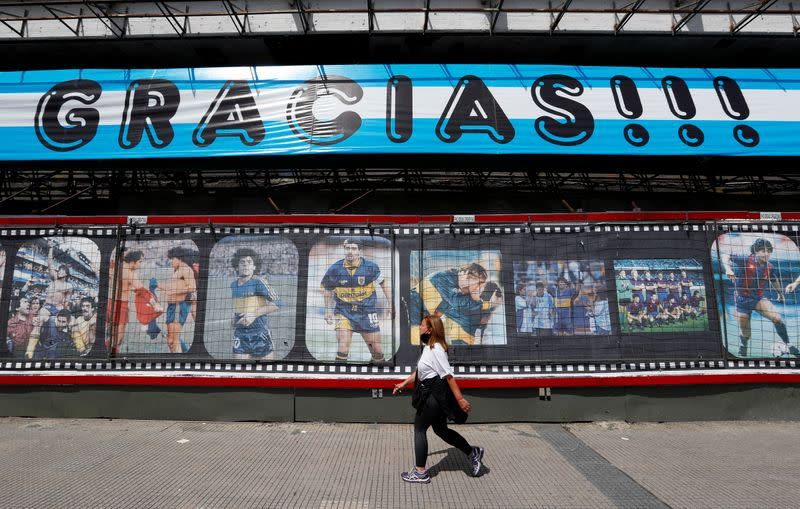 Homage to Argentinian soccer legend Diego Armando Maradona on his 60th birthday, in Buenos Aires
