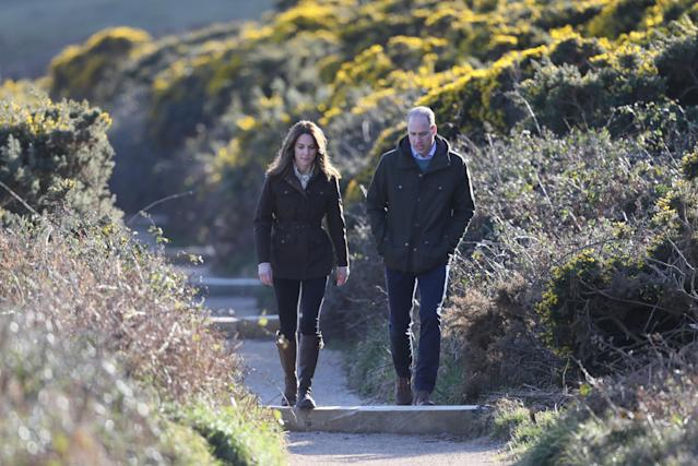 The Duke and Duchess of Cambridge during a visit to Howth Cliff. (Press Association)