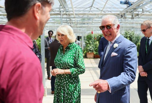The Prince of Wales and Duchess of Cornwall during their visit to Hyde Park