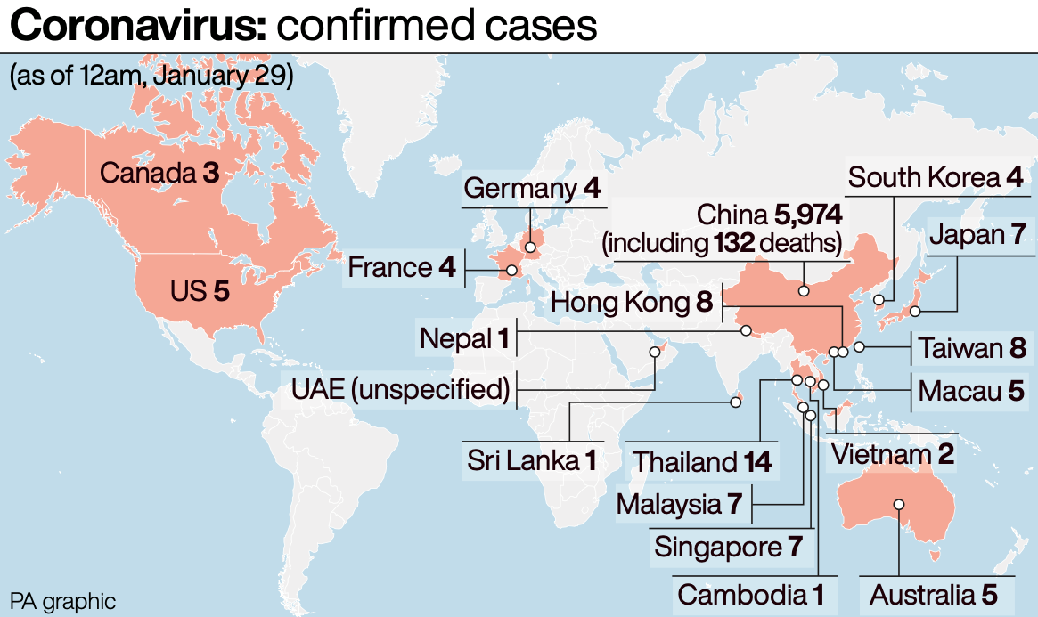 Confirmed cases of coronavirus across the globe (PA)