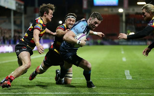<span>Alex Cuthbert touches down for Cardiff</span> <span>Credit: REX FEATURES </span>