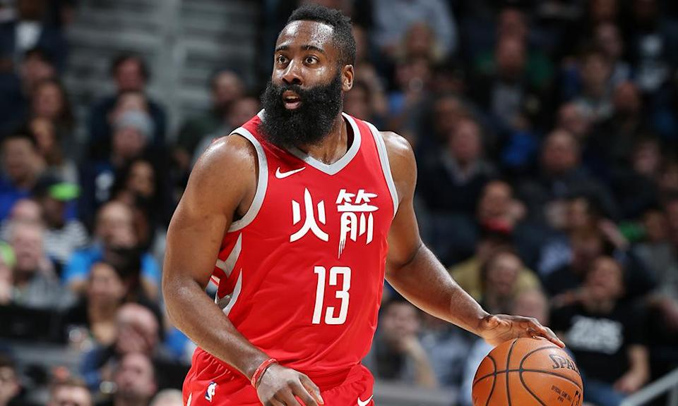 James Harden #13 of the Houston Rockets handles the ball against the Minnesota Timberwolves on February 13, 2018. (Getty)