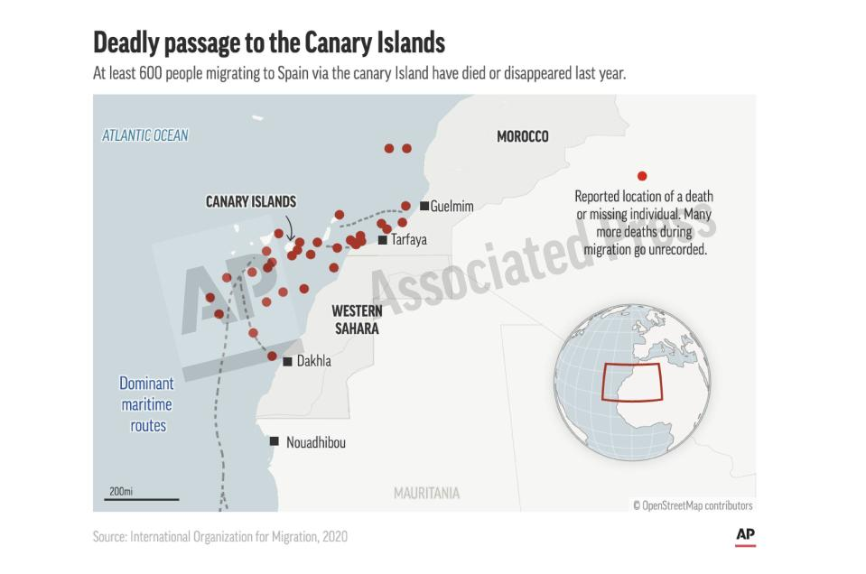 This preview image of an AP digital embed shows locations of capsized migrant boats. At least 600 people migrating to Spain via the canary Island have died or disappeared last year. (AP Digital Embed)