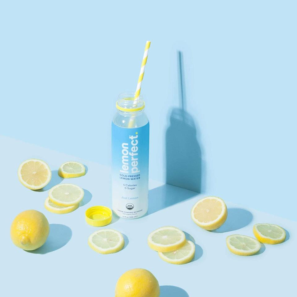 """<br> <br> <strong>Lemon Perfect</strong> Organic Cold-Pressed Lemon Water (12-Pack), $, available at <a href=""""https://amzn.to/2NLuKUH"""" rel=""""nofollow noopener"""" target=""""_blank"""" data-ylk=""""slk:Amazon"""" class=""""link rapid-noclick-resp"""">Amazon</a>"""