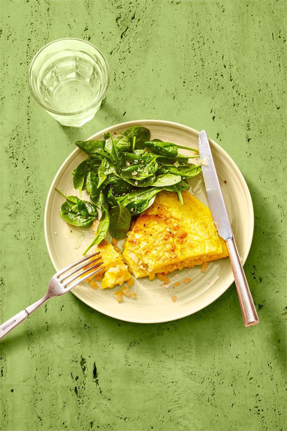 "<p>Sneak some spinach into your morning meal for a boost of nutrients to start your day off right.</p><p><em><a href=""https://www.goodhousekeeping.com/food-recipes/a35036897/classic-omelet-and-greens-recipe/"" rel=""nofollow noopener"" target=""_blank"" data-ylk=""slk:Get the recipe for Classic Omelet and Greens »"" class=""link rapid-noclick-resp"">Get the recipe for Classic Omelet and Greens »</a></em></p>"
