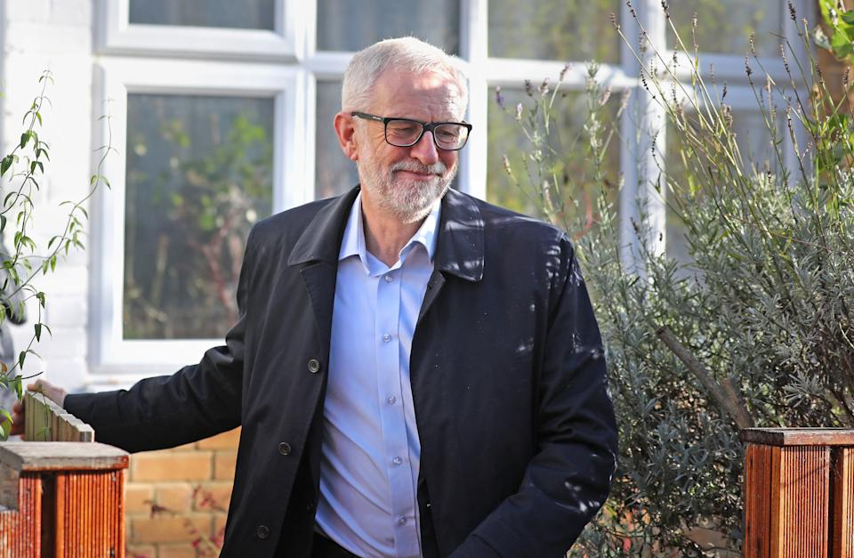 Labour Party leader Jeremy Corbyn leaves his home in Islington, north London. (Photo by Isabel Infantes/PA Images via Getty Images)