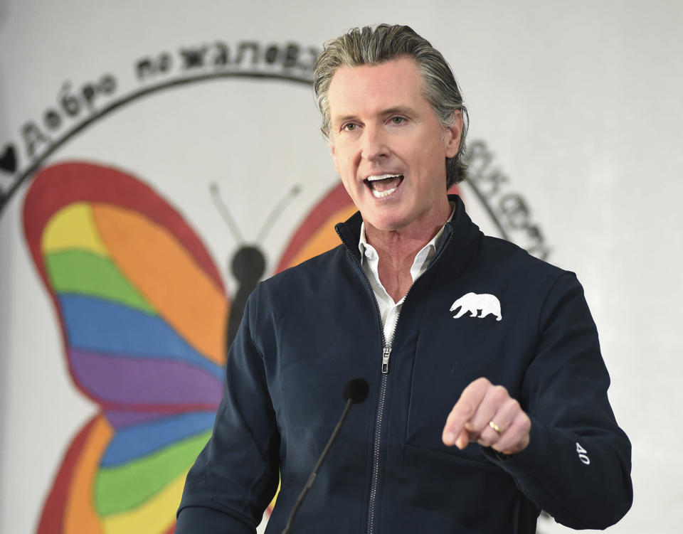 California Gov. Gavin Newsom speaks during a press conference, Friday Feb. 26, 2021, after visiting a COVID-19 vaccination clinic for farmworkers at the Dr. Sharon Stanley-Rea Community Center in Fresno, Calif. (John Walker/The Fresno Bee via AP, Pool)