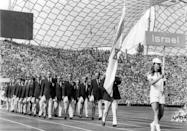 FILE - In this Aug. 26, 1972, file photo, the Israeli Olympic team parades in the Olympic Stadium, Munich, during the opening ceremony of the 1972 Olympic Games. (AP Photo/File)