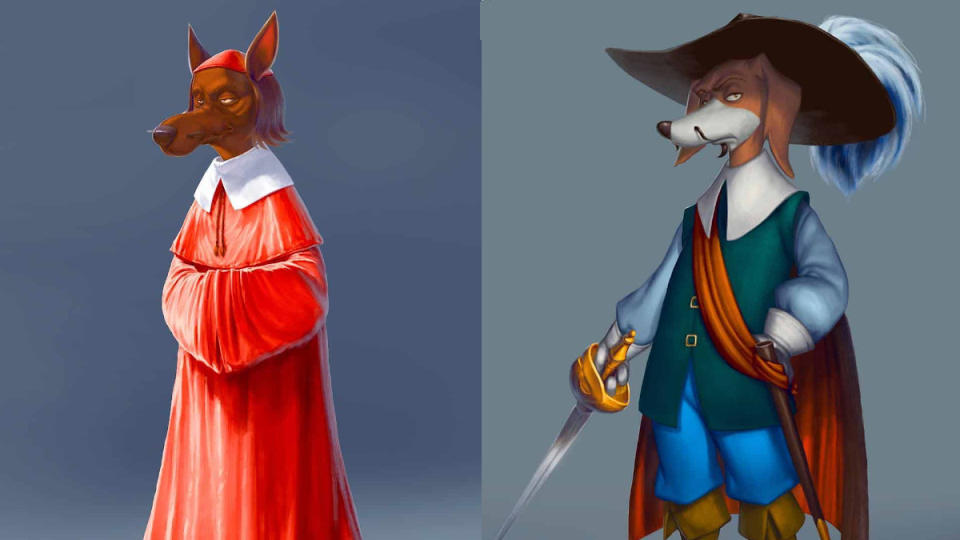 Cardinal Richelieu and Rochefort in 'Dogtanian and the Three Muskehounds'. (Credit: Cosmos-Maya)