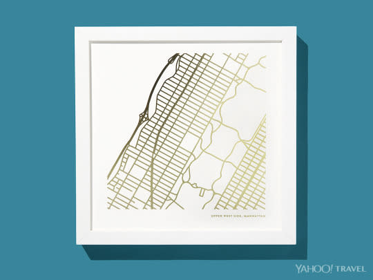 """<p>Whether commemorating a recent move, a childhood neighborhood, or a nostalgic journey, these custom line drawing <a href=""""http://www.minted.com/custom-map-printing?it_category=n_artb&it_id=ag4i4cc"""" rel=""""nofollow noopener"""" target=""""_blank"""" data-ylk=""""slk:map prints"""" class=""""link rapid-noclick-resp"""">map prints</a> — available in 30 colors, three sizes, and 11 frames, as well as in foil-pressed or letter-pressed options — will keep your chosen streets close to your heart. <i>(Photo: Jon Paterson for Yahoo Travel)</i></p>"""