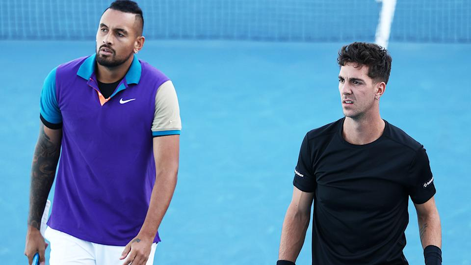 Nick Kyrgios and Thanasi Kokkinakis, pictured here in action at the Australian Open doubles.